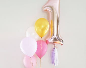 Rose Gold Number Balloons, Mylar Foil Number Balloon, Jumbo Number Balloon, Balloon Banner, Rose Gold Party Balloons, 1st Birthday Balloon