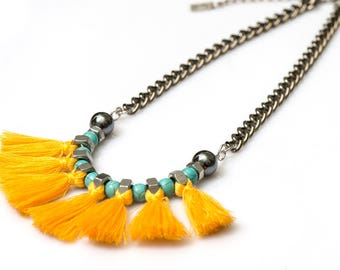 Tassels necklace, yellow fringe necklace, turquoise necklace, fan necklace, tribal necklace, fringe statement necklace.
