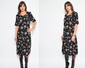 Vintage 90's Button Floral Dress / Black Floral Long Dress / Black Floral Maxi Dress - Size Medium