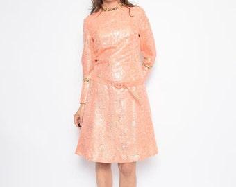Vintage 70's Metallic Long Sleeve Dress / Coral Pink Midi Dress - Size Large