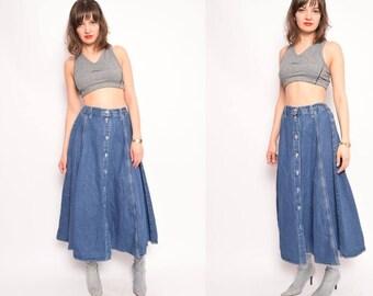 Vintage 90's Denim Button Skirt / High Waisted Denim Maxi Skirt / Blue Denim Skirt - Size Medium
