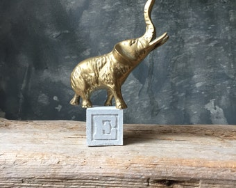 Solid Brass Elephant Figurine | Vintage Lucky Elephant | Brass Animal | Ring Holder | Paperweight | Hollywood Regency | Home Office Decor