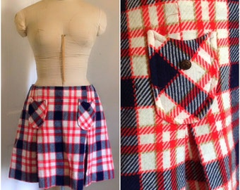 Sixties plaid kilt vintage mini skirt size small medium 6 8 10 mini skirt, plaid skirt, mod 1960s