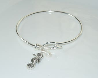 Wire Bangle Charm Bracelet with Adorable Seahorse Charm and Freshwater Pearl
