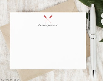 Personalized Stationary Set / Set of Flat Oars Rowing Personalized Stationery Note Cards / Boating Nautical Custom Printed Thank You // OARS