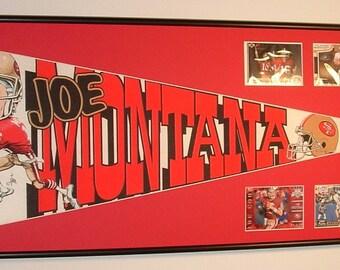San Francisco 49ers Hall of Fame Quarterback, Joe Montana Pennant Framed..with football cards...Custom Framed !!