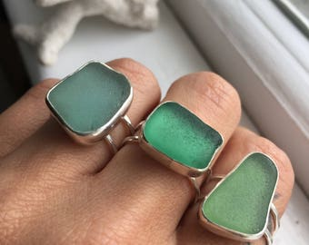 Sea Glass Ring Sz8 Grecian Aqua Teal Green Mermaid Tears Sterling Silver