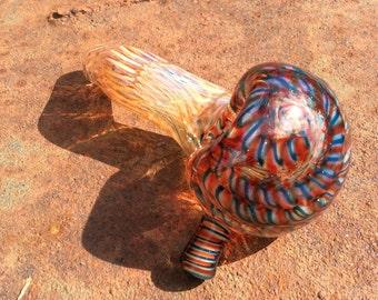 Glass Smoking Pipe // Sherlock Pipe // Hand Blown // Ruby // Green // Spring Weave // Caramel // Signed
