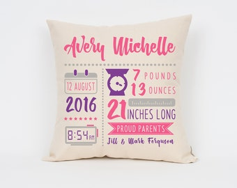 """New Baby Gift, Birth Announcement 16"""" Pillow, New Mom Gift, Nursery Pillow, Nursery Decor, Baby Stats Pillow, Colorful Birth Announcement"""