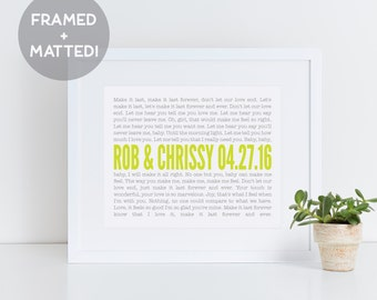 Framed Wedding Vows, Gift for Husband, Custom Quote Framed, Personalized for Him, Song Lyrics Wall Art, First Anniversary Paper