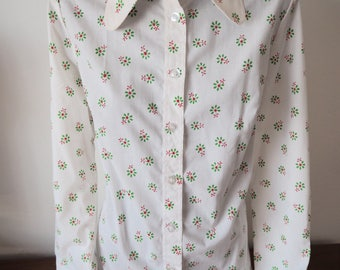 French 60s 70s shirt ditzy green floral M