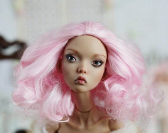 Fluffy Rasberry Marshmallow Wig for Popovy Sisters Doll, Encahnted doll Etc