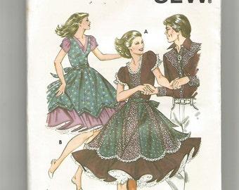 1159 Kwik Sew Sewing Pattern Square Dancing Dress w Underskirt UNCUT Size 6 8 10 12 Vintage 1980s Ruffles