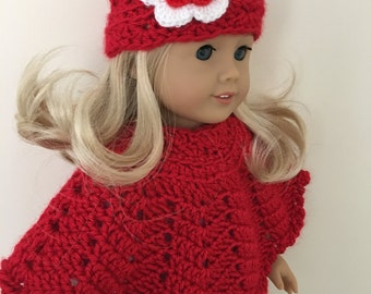 18 doll hat and poncho set - (will fit American Gorl dolls), dolls clothing, Doll, London girl, red doll clothes