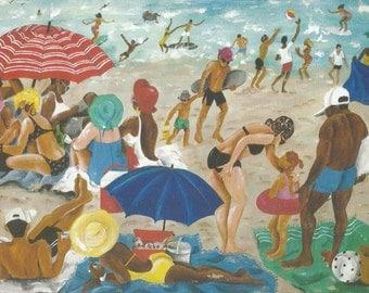 "AT THE BEACH by Annie Lee - Custom Framed African American Print / Black Art Print  - 12 x 14"""