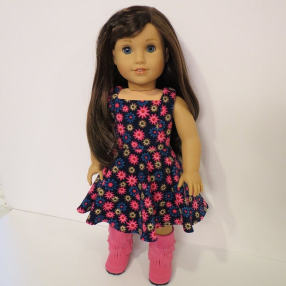 """18"""" Doll Clothes - Corduroy Flowered Geometry Class Dress - Made to fit AG and similar 18 inch dolls"""