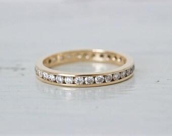 Diamond Wedding Band | Vintage 14k Yellow Gold Wedding Ring | Diamond Eternity Band | Channel Set Diamonds | Diamond Stacking Ring | Size 5
