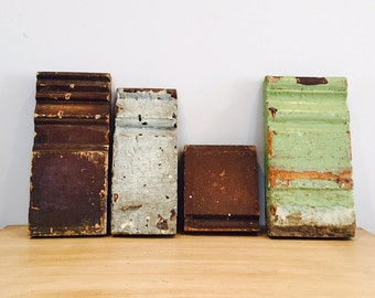 Vintage Architectural Salvaged Door Trim Blocks   Set Of 4
