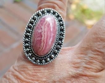 rhodocrosite ring size 5 1/2 1970's BIG BOLD GORGEOUS estate vintage sterling ring