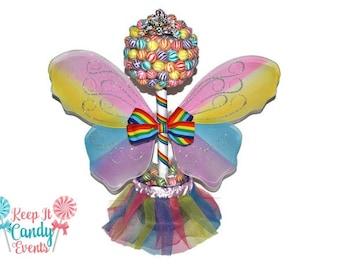 Rainbow Lollipop Butterfly Fairy Princess Topiary, Fairy Centerpiece, Princess Centerpiece, Fairy Birthday Centerpiece, Rainbow Birthday