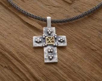 Unique Byzantine Cross Necklace for Women or Men, Sterling Silver and K14 Gold Cross Pendant, Baptism Cross  ST710