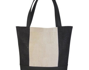 Shopper cork leather black offwhite