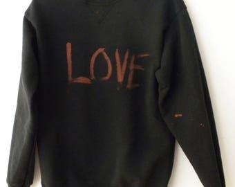 Black Love Sweatshirt, Acid Wash crewneck sweatshirt, Graphic Sweatshirt, acid wash, Grunge, rocker,Heart Sweatshirt, Valentines Gift, retro