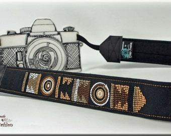 DSLR Camera strap, embroideres, MASSAI, black
