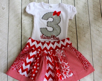 Baby girls birthday outfit Red white and silver Christmas skirt set for girls Personalized birthday shirt with number and matching skirt