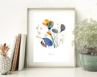 Blue and orange flower art print card from original watercolor painting by Annemette Klit. Size A5  - blue meadow flowers / art card print.