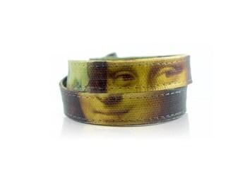 Mona Lisa Wrap Bracelet / Handmade Canvas Art Bracelet / Collar Necklace