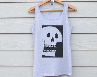 Women's Skull Tank Top / Grey Skull Vest / Skull Workout Top / Fitness Tank / Skull Accessories / Fitted Skull Vest