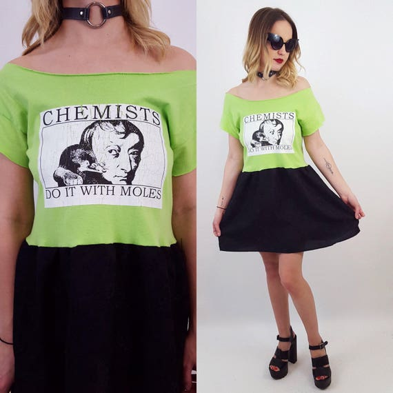 The Lunar Eclipse Dress - Upcycled Lime Green & Black Dress - Graphic Chemists Do it with Moles T-Shirt Dress - 90s Grunge Babydoll Dress