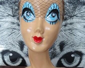 60s Black Veil Birdcage Hat with Black Velvet Bows