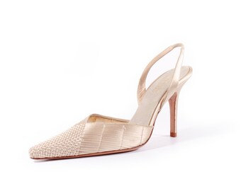 Pointed Toe Shoes Woven Sandals Slingback Sandals Stiletto Sandals Minimalist Chic Vintage Shoes Pearl Women's Size US 8 / UK 6 / EUR 38
