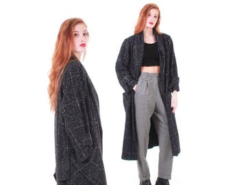 Speckled Black Wool Coat Long Heavy Oversized Duster 80s 90s Vintage Clothing Women's Size Large / XL