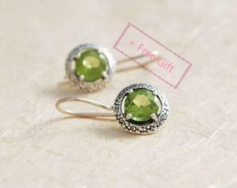 Everyday Earrings - elegant Peridot earrings, Peridot Dangle earrings, Sterling silver dangle earrings, Personalized birthstone earrings