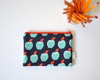 Teacher Appreciation Gift, Apple Zipper Bag, Fruit Makeup Pouch, Gift For Teacher, Apple Lover Gift, Navy Zippered Pouch, Farmers Market Bag