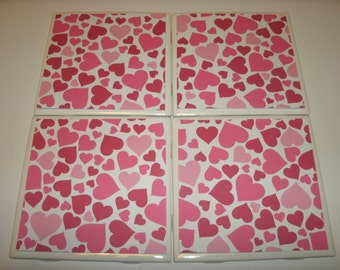 Mix n Match Valentine Tile Coasters, LOVE, Holiday, Home Decoration, Kitchen, Office, Livingroom, Dorm, 4 pc set