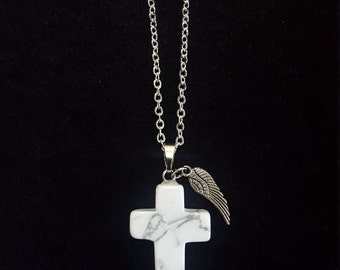 White marble cross shaped necklace with Angel wing