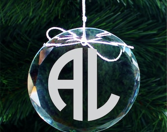SHIPS FAST, Two Initial Monogram Crystal Christmas Ornament, Personalized Holiday Ornament, Custom Engraved Monogrammed Ornaments - COR009