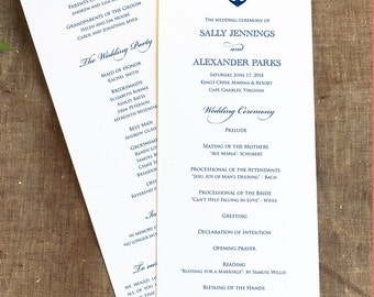 Anchor Wedding Program, Panel Style Nautical Program, Navy Anchor Wedding Ceremony Program, Order of Service, Wedding Program