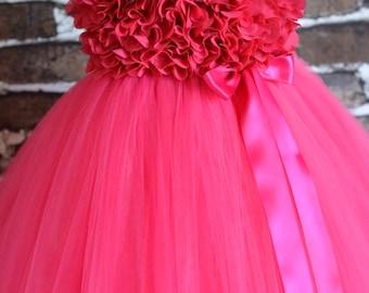 Fuchsia chiffon Hydrangea Flower girl tutu dress