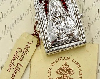 Vintage VATICAN COLLECTION LIBRARY Silver Jesus Sacred Heart Enamel Rosary Bead Box