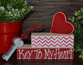 Key to My Heart Valentine's Day Wood Decor Block Set Valentine Day Decoration Skeleton Key Heart Wood Block Set Valentine's Day Decoration