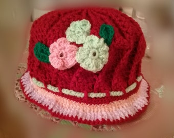 Crochet girls red hat