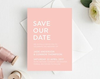 Save the Date Printable, Wedding Announcement - Blush