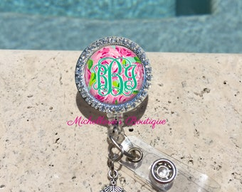 Retractable Badge Holder,Personalized Badge Reel,Bling Badge Reel,Badge Holder,Nurse,Pharmacy,RX,RN BSN, Preppy Floral, MB360