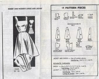 1950s Mail Order 3165 Women's Dress and Bolero Jacket Sewing Pattern UNCUT