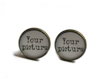Personalized Cufflinks - Wedding Gift - Gift for the groom - Photo Cufflinks - Custom Cufflinks for men - Logo Cufflink  father of the bride